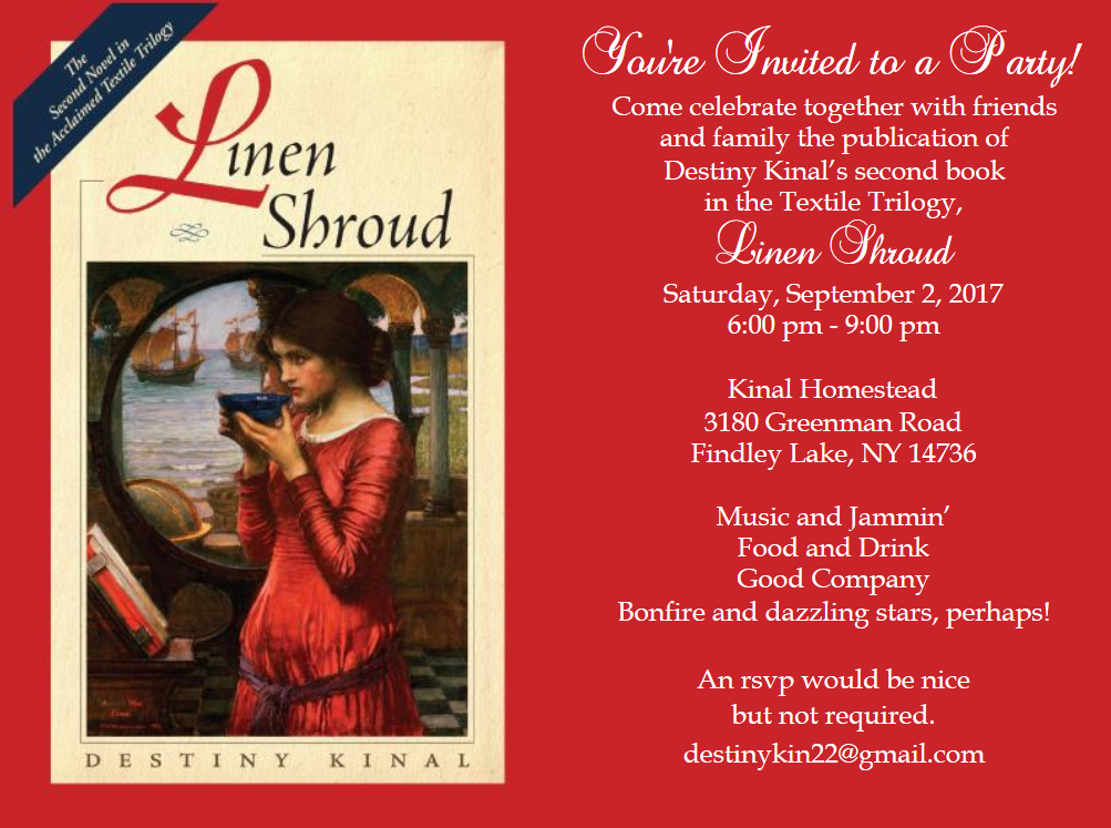 Linen Shroud book party invitation
